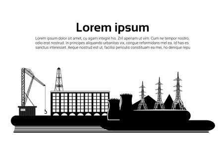 Factory building nature pollution plant pipe waste. silhouette of an oil drilling rig on white background. banner. flat copy space vector illustration Vettoriali