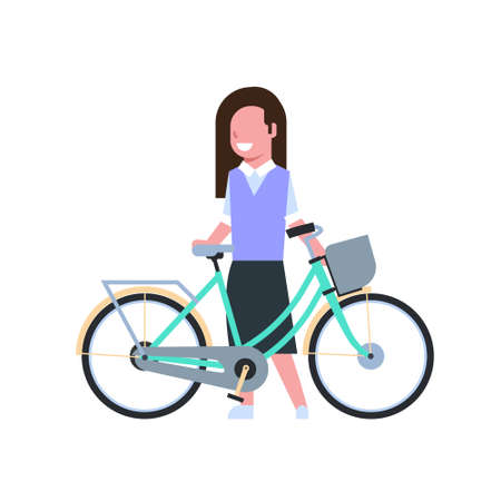 woman hold bike over white background. cycling concept. cartoon full length character. flat style vector illustration
