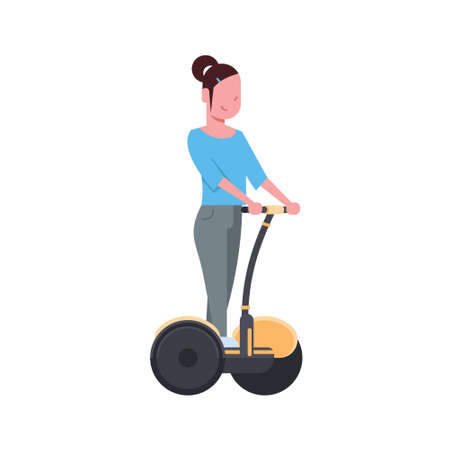 woman riding gyroscooter over white background. gyroboard concept. cartoon full length character. flat style vector illustration