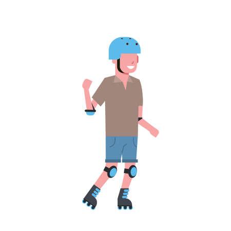 man helmet roller skating over white background rollerblading cartoon full length character. flat style vector illustration