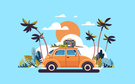 retro car with luggage on roof tropical sunset beach surfing vintage greeting card template poster flat vector illustration Vectores
