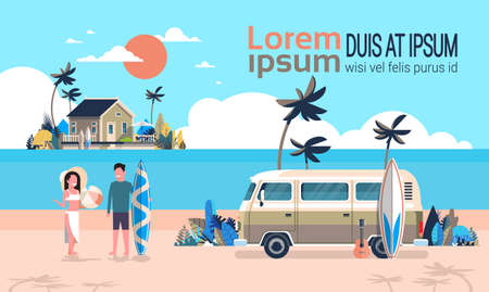 Summer vacation man woman surf bus sunrise tropical beach retro surfing vintage villa island horizontal copy space template poster flat vector illustration