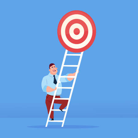 businessman stepping up to target on top of stairs business success concept on blue background flat copy space vector illustration