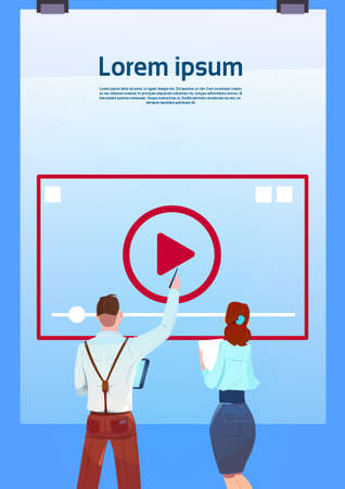 media player online training video stream concept rear view business people pointing videoblogs on blue background flat copy space vertical vector illustration