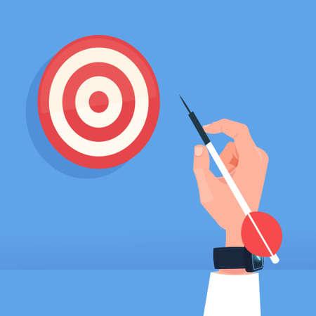 human hand holding arrow hit target dartboard successful goal concept flat vector illustration