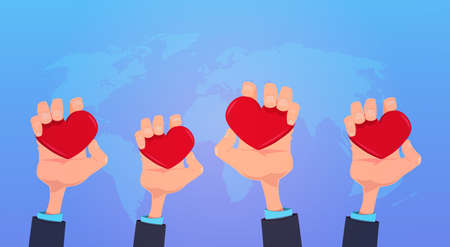 human hands holding red love heart health care concept on blue world map background flat vector illustration