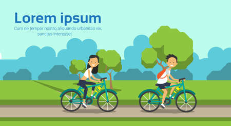 woman man couple cycling on city park green lawn trees template landscape background copy space horizontal flat vector illustration Vectores
