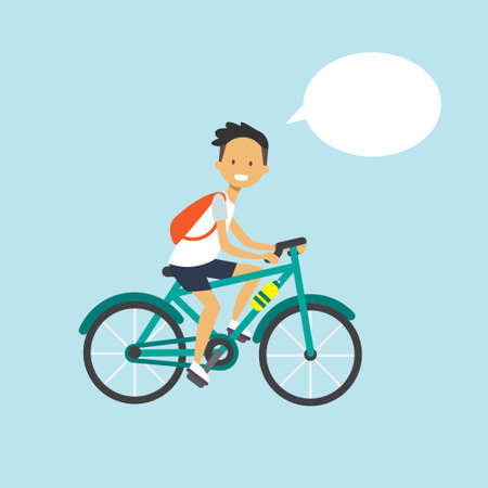 man cycling chat bubble character full length over blue background flat vector illustration