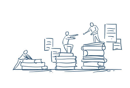 man on books stack give helping hand education success concept podium winers on white background sketch doodle vector illustration