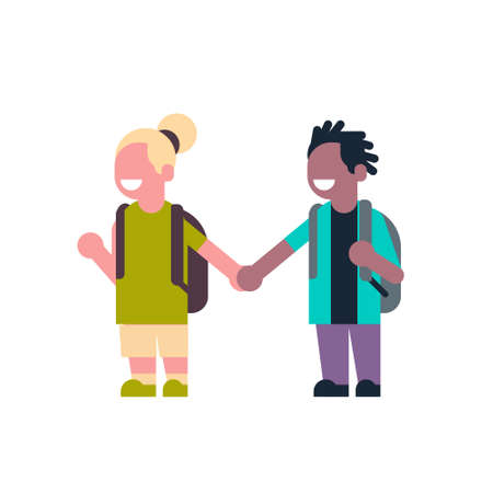 couple girl boy backpack hold hands mix race school children isolated small primary students over white background flat vector illustration Illustration