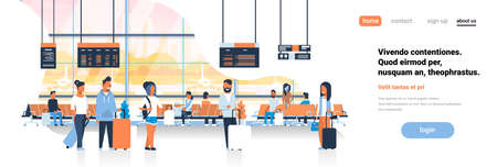 man woman waiting takeoff in airport hall departure lounge passengers terminal check interior flat banner copy space vector illustration Banco de Imagens - 115024837