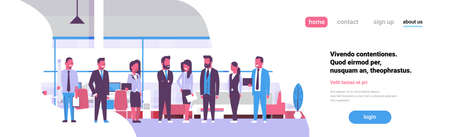 Business team brainstorming meeting group businesspeople standing together office discussing flat banner copy space vector illustration
