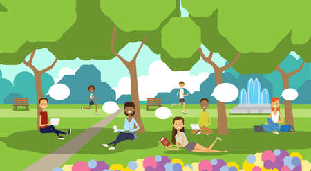 city park relaxing people chat bubbles sitting green lawn using laptop picnic man woman trees landscape background horizontal flat vector illustration Illustration