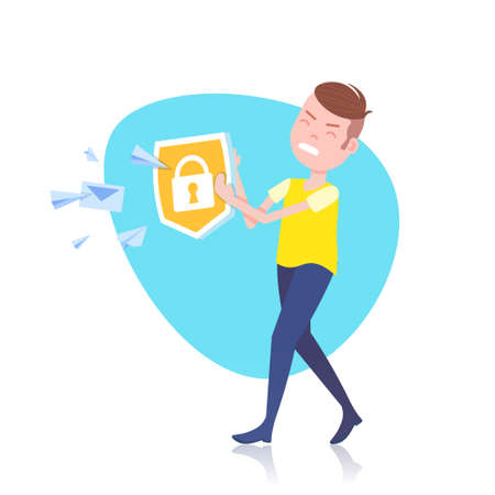 angry man character holding padlock shield envelope chat template for design work or animation over white background full length flat vector illustration