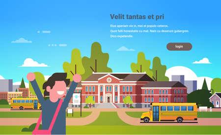 boy raising hands yellow bus school building exterior pupils transport concept portrait 1 september flat horizontal vector illustration