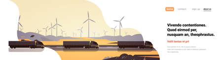Black semi truck trailers driving road countryside wind turbines landscape banner copy space vector illustration
