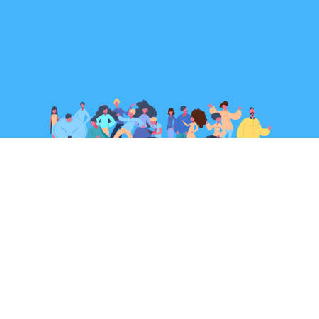 casual people group standing together man woman character diversity poses isolated male female cartoon portrait flat vector illustration