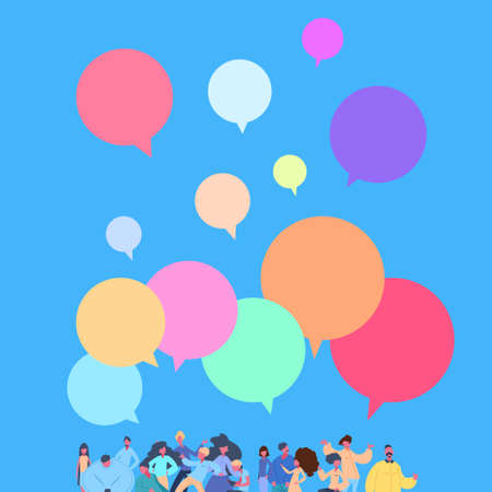 casual people group chat bubbles standing together man woman character diversity poses blue background male female cartoon portrait flat vector illustration
