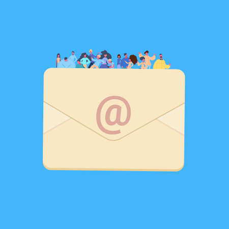 casual people group on email envelope together man woman character diversity poses blue background male female cartoon portrait flat vector illustration
