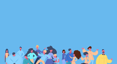 casual people group together man woman character diversity poses over blue background male female cartoon portrait flat vector illustration