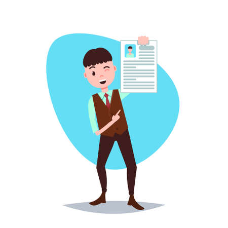 happy cv man holding personnel resume concept template for design work or animation over white background full length flat vector illustration