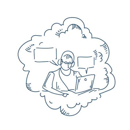 man headphones working laptop announcer bubble chat concept white background sketch doodle vector illustration