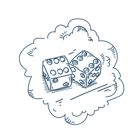 double dice good luck concept on white background sketch doodle vector illustration