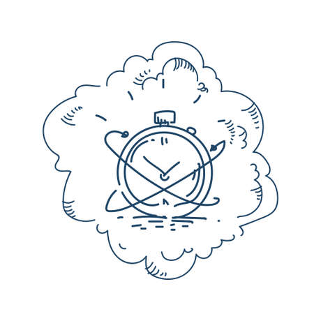 chronometer deadline concept on white background sketch doodle vector illustration