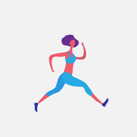 running woman cartoon character sportswoman activities isolated healthy lifestyle concept full length flat vector illustration