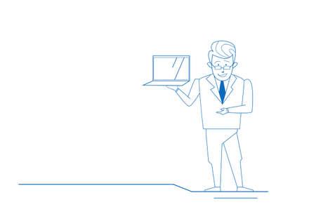 businessman holding laptop online communication concept business man silhouette sketch doodle horizontal full length vector illustration
