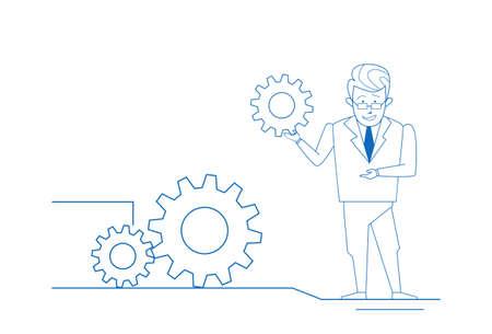 Businessman twisting gear wheel working process service concept sketch doodle horizontal full length vector illustration