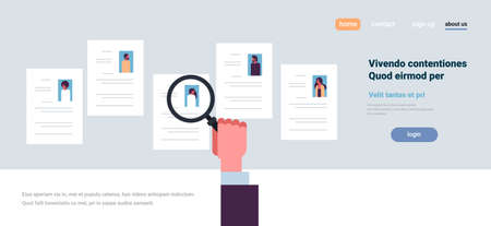 hand hold magnifying zoom cv resume choosing people candidate for vacancy job position recruitment concept flat copy space banner vector illustration