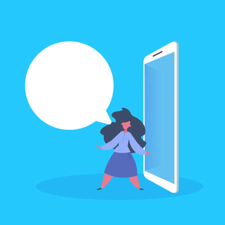casual woman chat bubble application messenger over blue background flat vector illustration Ilustrace