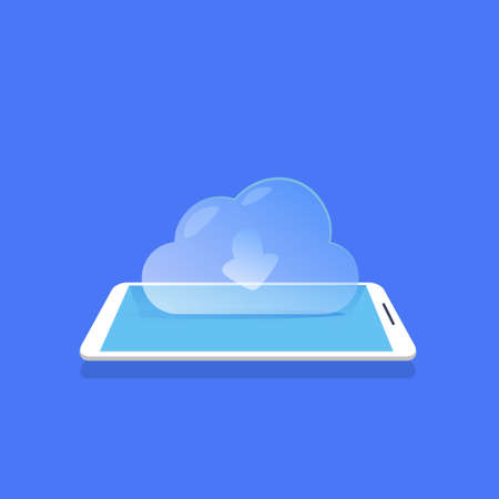 cloud synchronization icon mobile data storage application blue background flat vector illustration