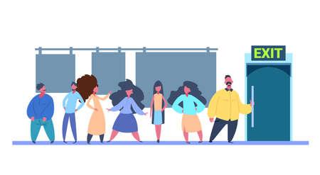 Grupo de personas que van a la puerta de salida del probador sobre fondo blanco ilustración vectorial horizontal plana Ilustración de vector