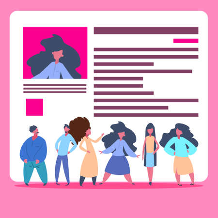 people group over cv resume team choosing female candidate for vacancy job position recruitment concept flat vector illustration