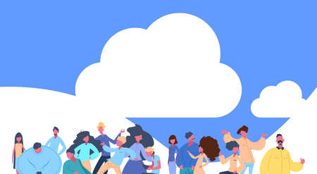 casual people group standing over cloud sky together man woman character diversity poses isolated male female cartoon portrait flat vector illustration