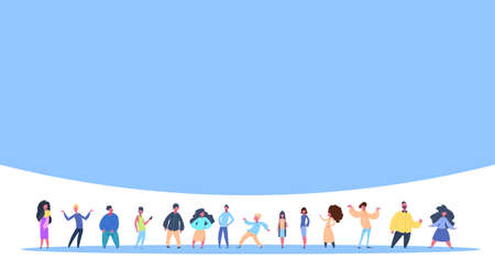 casual people group standing together man woman character diversity poses isolated male female cartoon full length flat vector illustration Ilustração