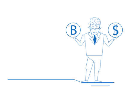 Confused businessman hold bitcoin dollar coins thinking choose making decision difficult choice sketch doodle horizontal full length vector illustration