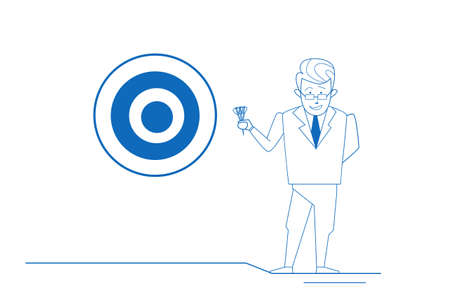 businessman arrow hitting target center of dartboard success concept on white background sketch doodle full length vector illustration