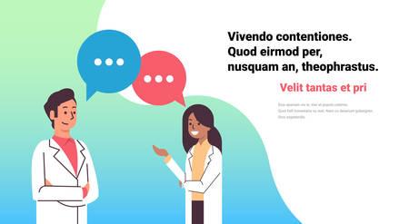 couple doctors chat bubble treatment communication man woman medical team network healthcare concept horizontal copy space vector illustration
