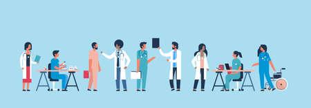 group doctors hospital communication making scientific experiments diverse medical workers blue background flat banner vector illustration Illusztráció