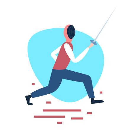 fencing man training swordsman white background male activity cartoon character full length flat vector illustration