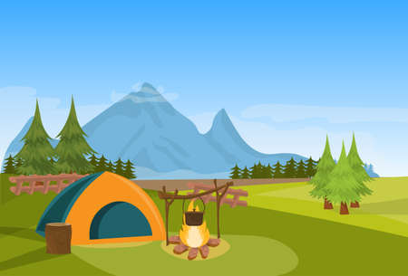 Tent camping fire forest mountain expedition vacation concept flat horizontal vector illustration