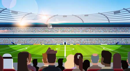 Siluetas de campo de estadio de fútbol vacío de fanáticos esperando partido vista trasera plana horizontal ilustración vectorial