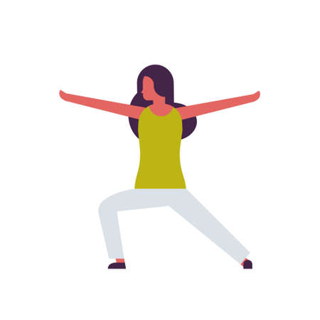 woman doing yoga exercises female cartoon character fitness activities isolated diversity poses healthy lifestyle concept full length flat vector illustration
