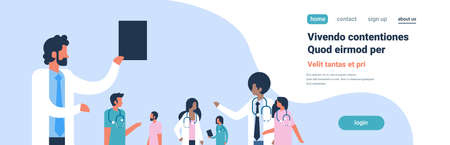 group doctors stethoscope hospital communication diverse mix race medical workers blue background flat portrait copy space banner vector illustration