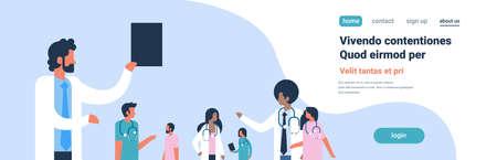Grupo de médicos estetoscopio comunicación del hospital mezcla diversa raza trabajadores médicos fondo azul retrato plano espacio de copia banner ilustración vectorial