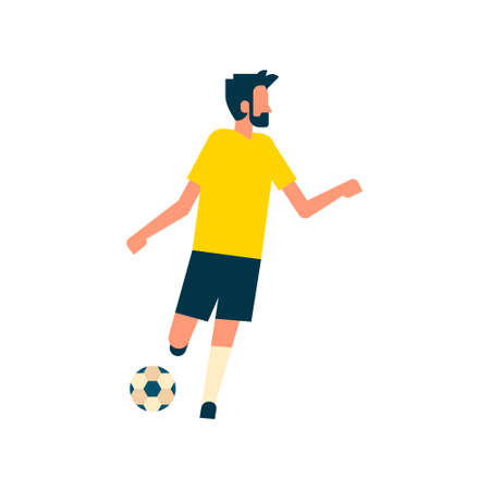 Football player kick ball isolated sport championship flat full length vector illustration Illustration