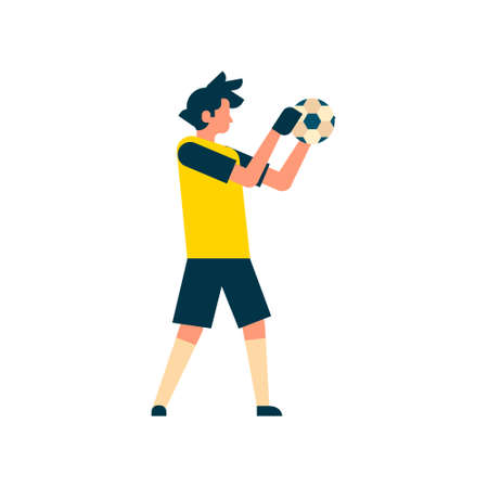 Football player goalkeeper catching ball isolated sport championship flat character full length vector illustration